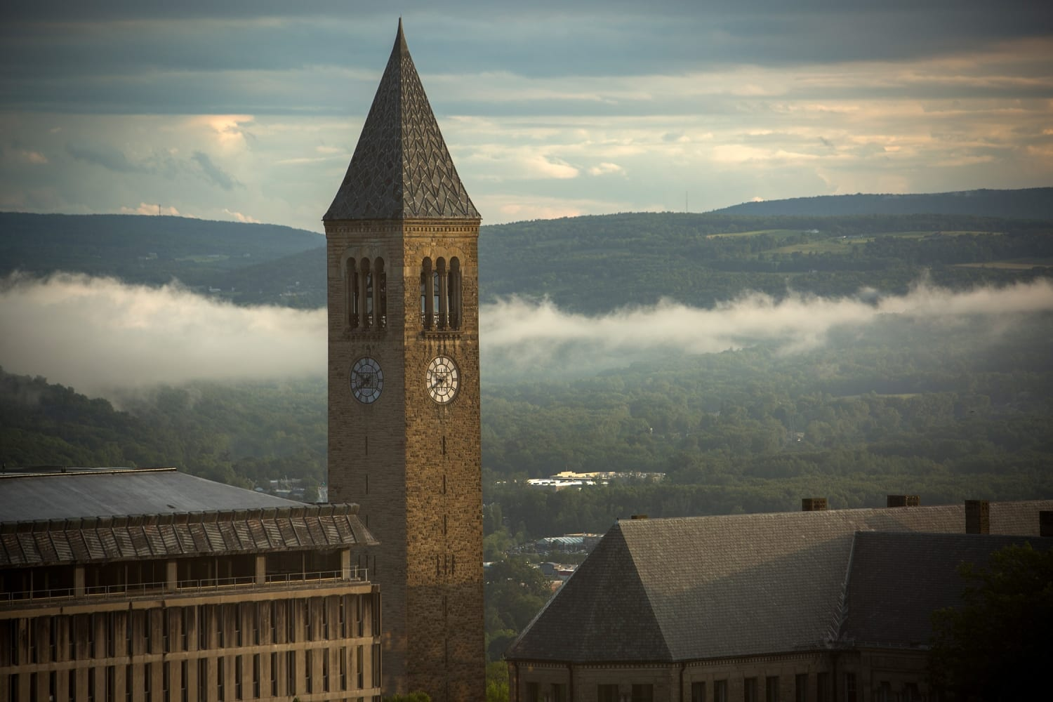 Fog over campus with McGraw Tower in foreground