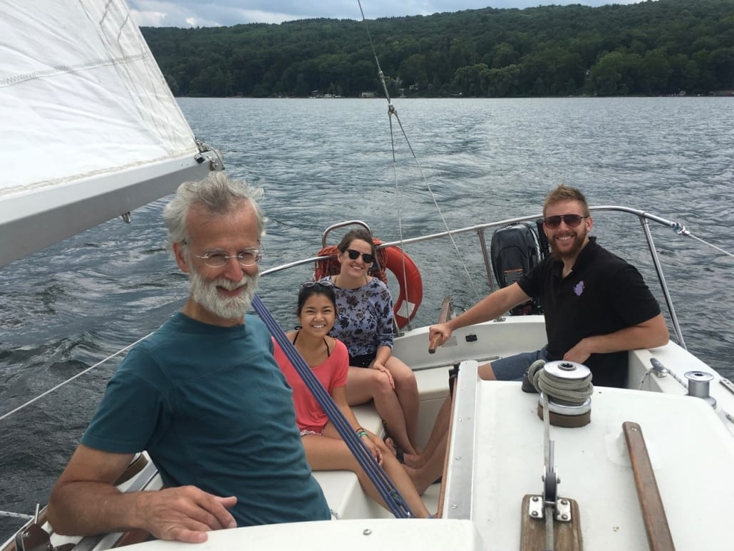 2018 Clark lab sailing on Cayuga Lake